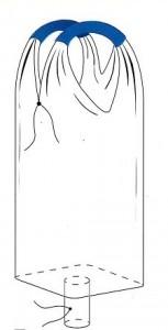 Однослойная рукавная ткань, сшивные стропы; вшивное квадратное дно; разгрузочный люк